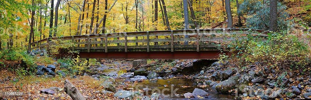 Autumn wood bridge panorama stock photo