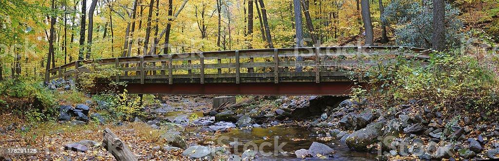 Autumn wood bridge panorama royalty-free stock photo