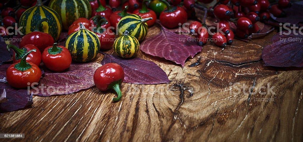 Autumn Wooden Background stock photo