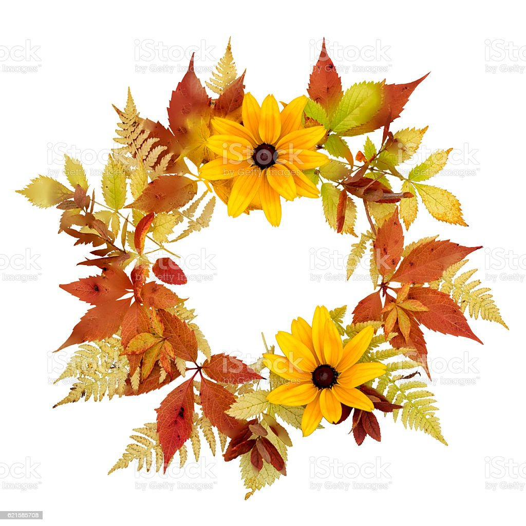 Autumn wreath of rudbeckia and pansies flowers stock photo
