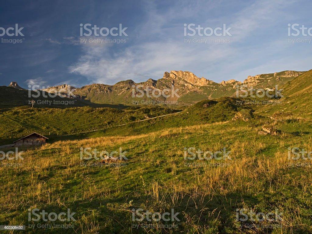 Autumnal alpine landscape in the morning sunlight stock photo