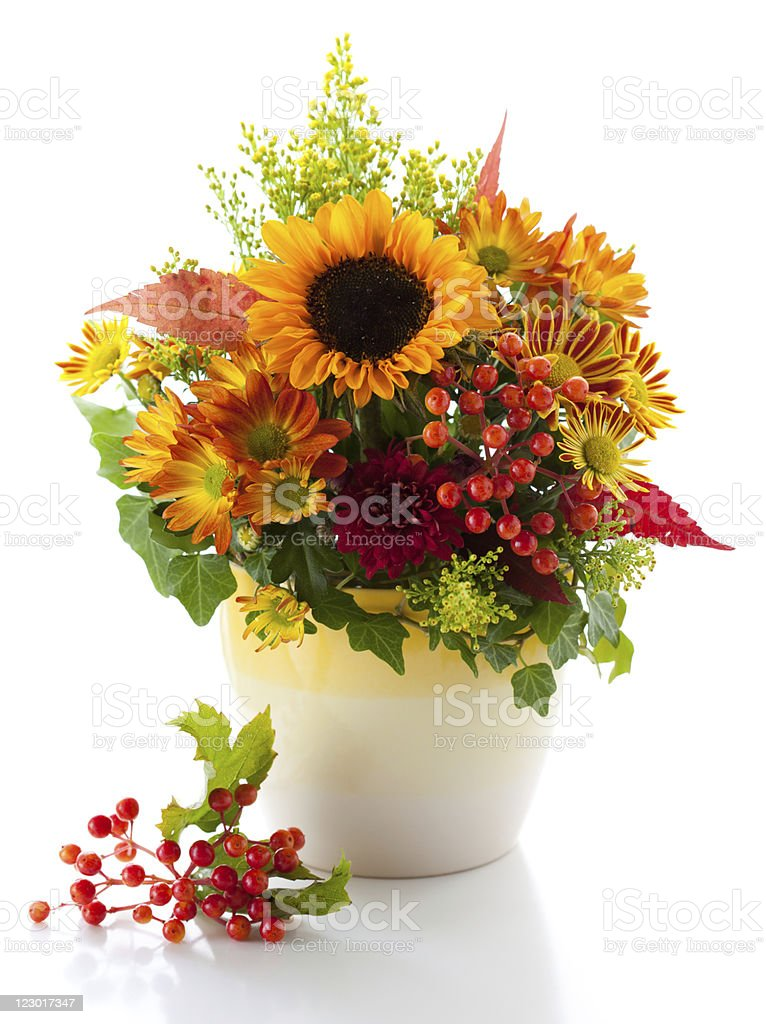 Autumnal flower arrangement in a white and yellow vase stock photo