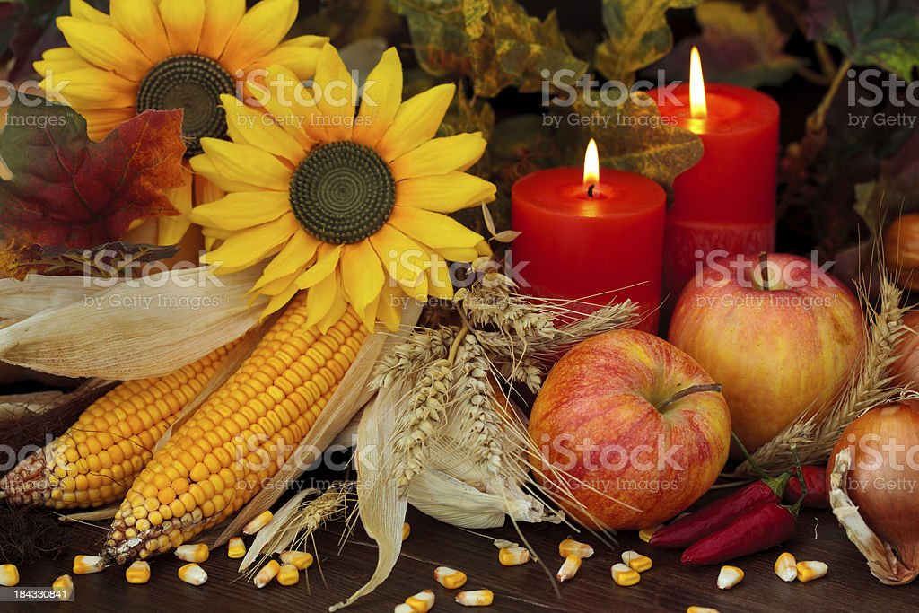 Autumnal Fruits and vegetables. stock photo