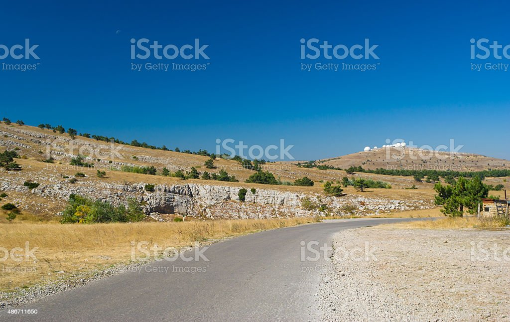 Autumnal landscape on Ai-Petri mountain tableland in Crimean peninsula stock photo