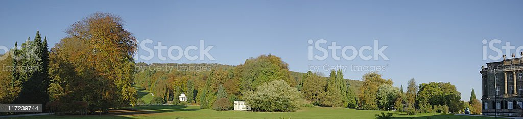 Autumnal panoramic in the Bergpark Wilhelmsh?he/ Kassel stock photo