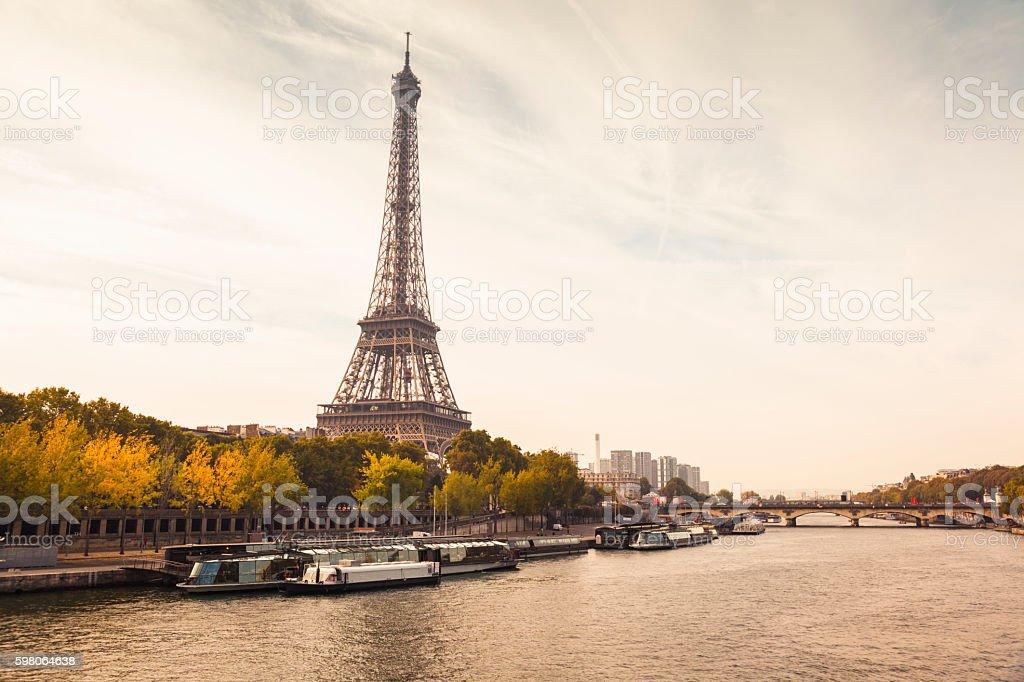 Autumnal Paris with Eiffel Tower and Seine River (Paris, France) stock photo