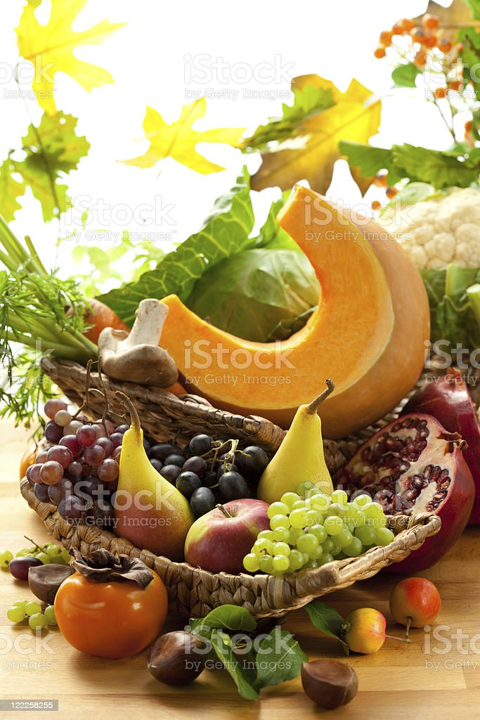 Autumnal vegetables and fruits royalty-free stock photo