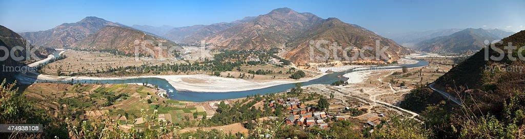 Autumnal view of Tamakoshi Nadi river in Nepalese himalayas stock photo