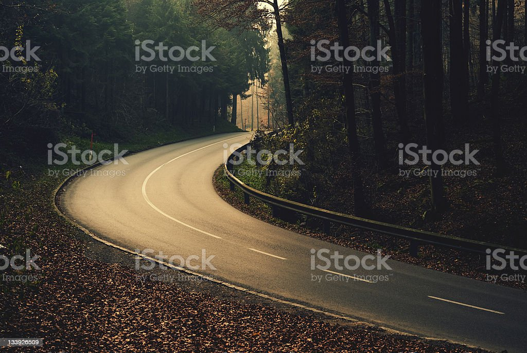 Autumnally dangerous street royalty-free stock photo