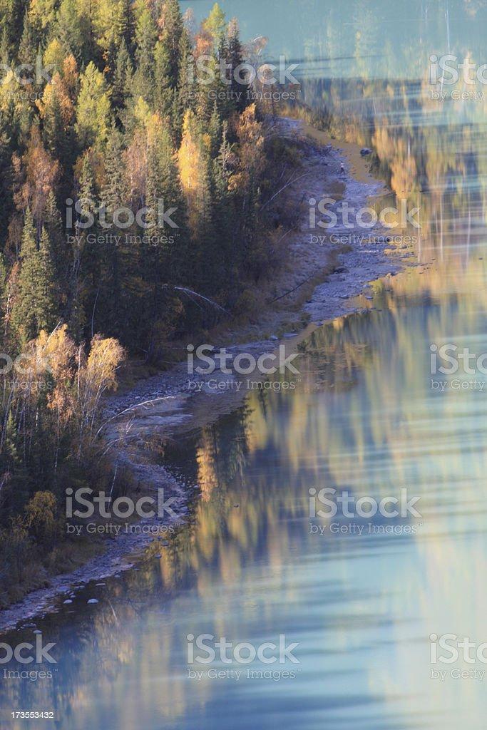 Autumn's color at Kanas river royalty-free stock photo