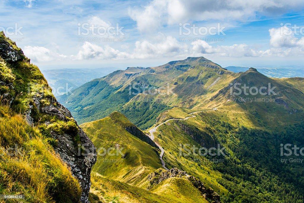 Auvergne volcanoes stock photo