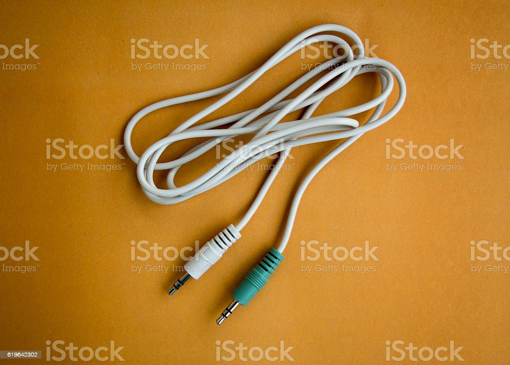 Aux plug audio stereo cable stock photo