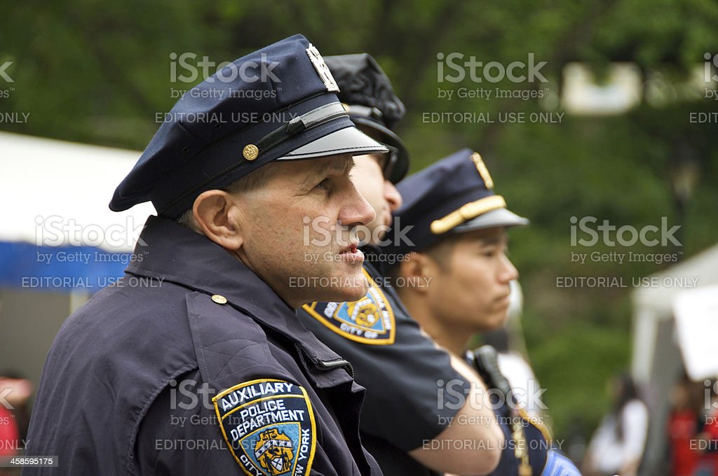NYPD Auxiliary Police officers in Central Park, NYC stock photo
