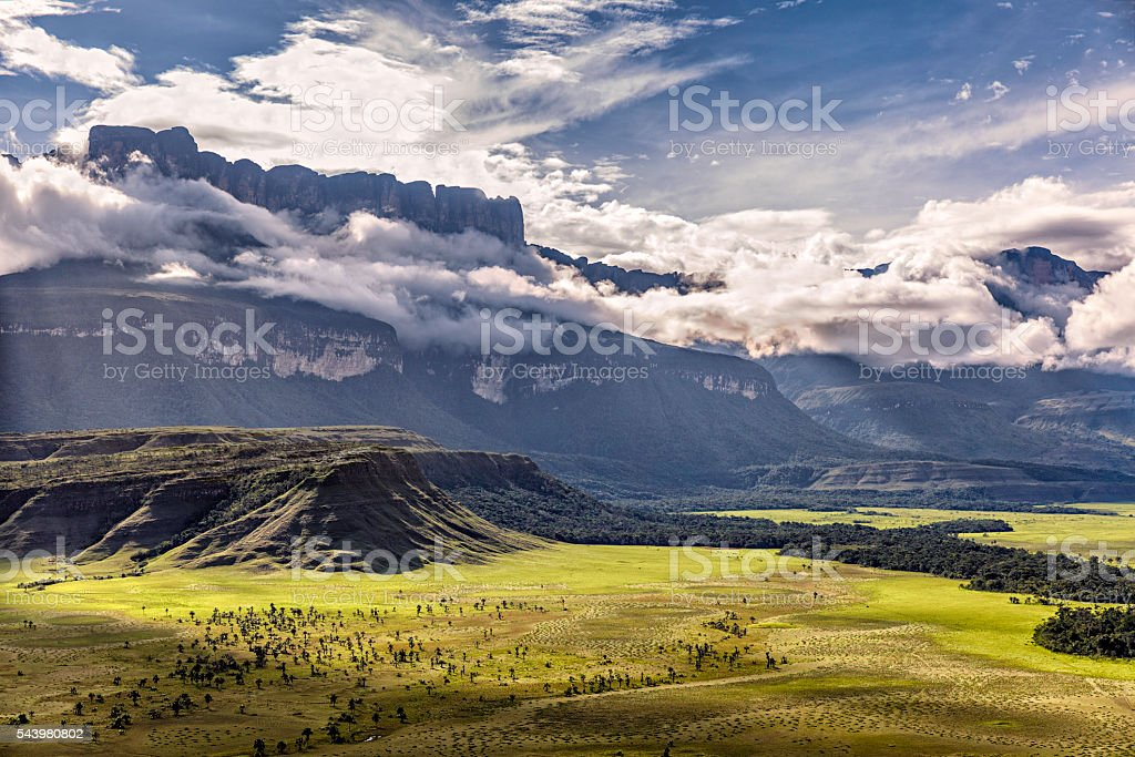 Auyan Tepuy and Kamarata Valley aerial view. Gran Sabana, Venezuela stock photo