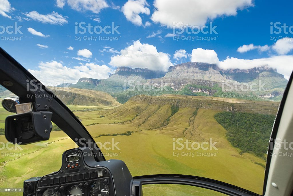 Auyan Tepuy Mountain View from Helicopter Cockpit stock photo