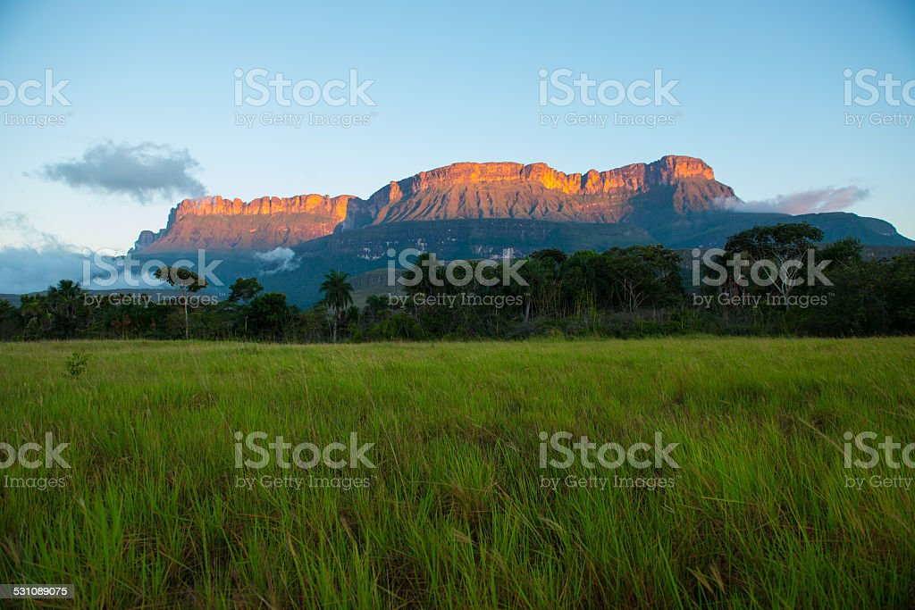 Auyantepuy bathed in orange sunlight from sunset over green Savannah stock photo