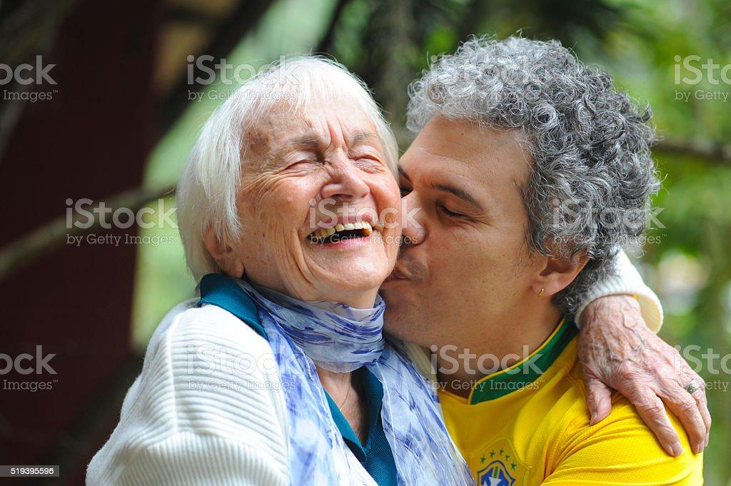 Avó italiana e neto brasileiro stock photo