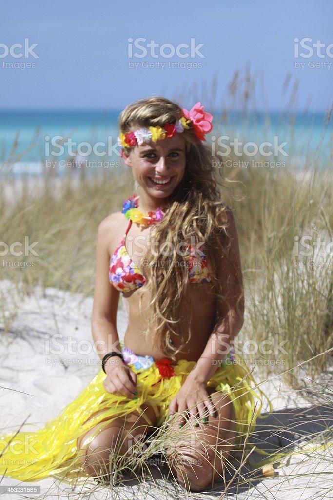 Avaiana girl on the beach stock photo