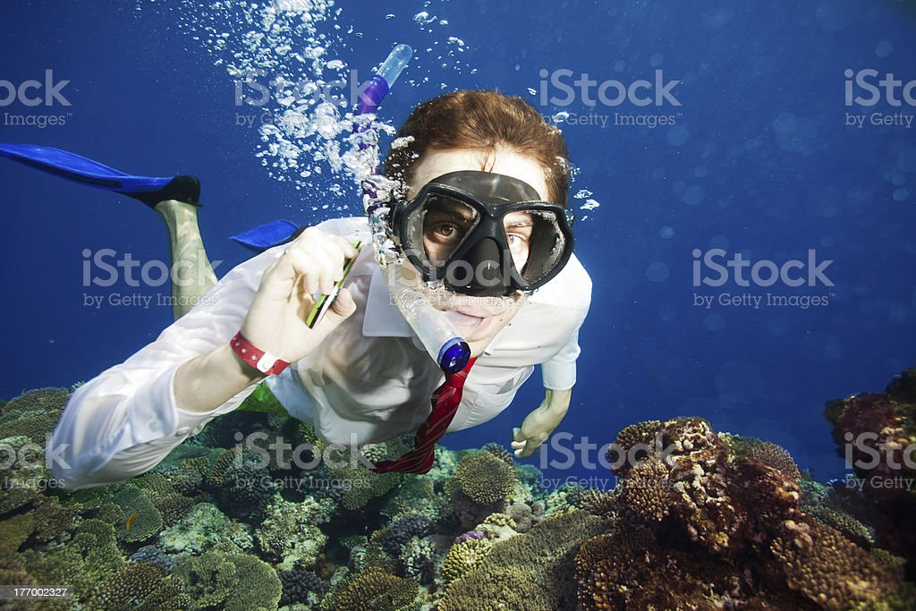 Available by cell phone everywhere  even underwater stock photo