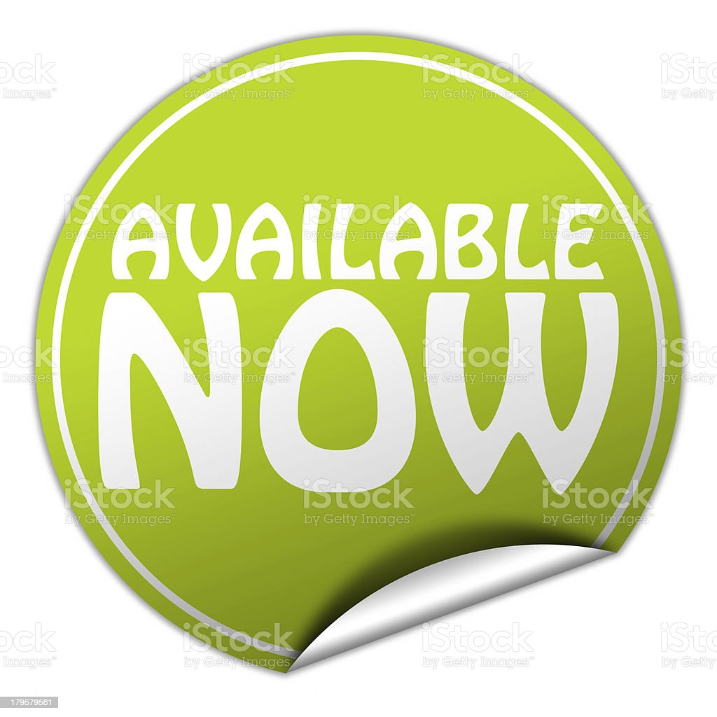 available now sticker royalty-free stock photo
