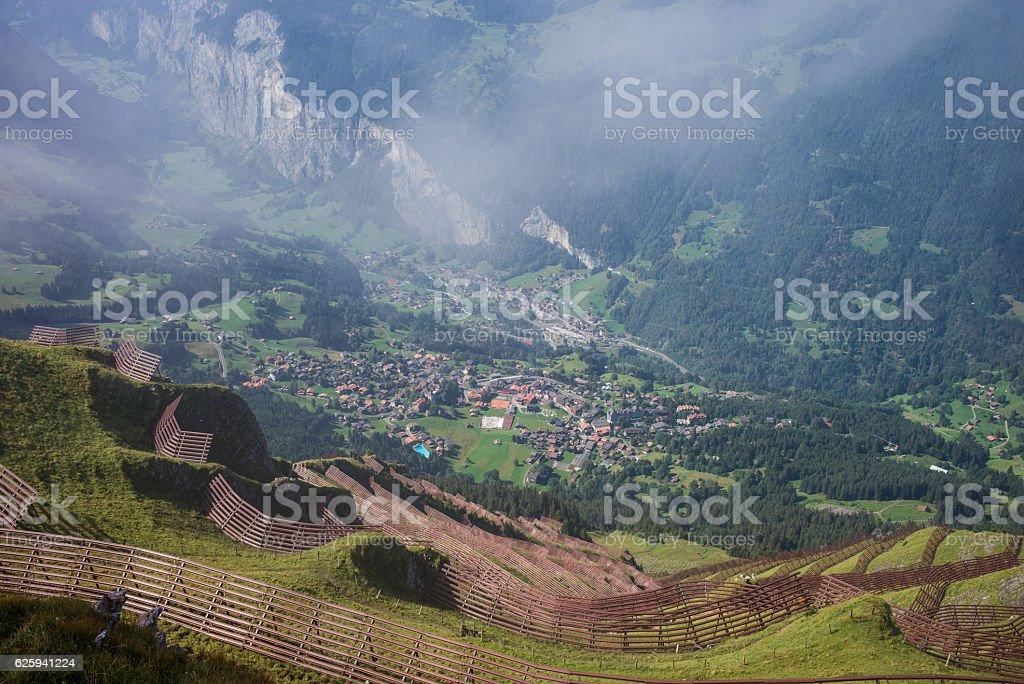 Avalance Fencing over Wengen Switzerland stock photo