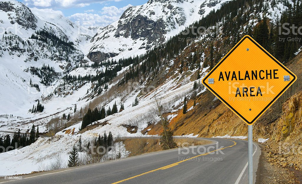 Avalanche and Sign stock photo