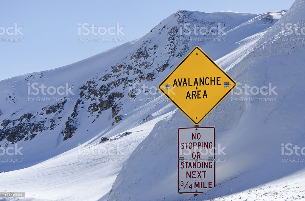Avalanche Area Sign stock photo