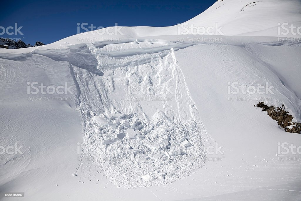 Avalanche close-up stock photo