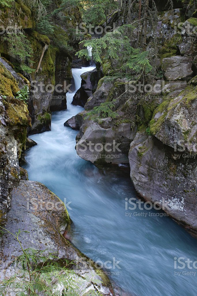 Avalanche Falls in Glacier National Park royalty-free stock photo