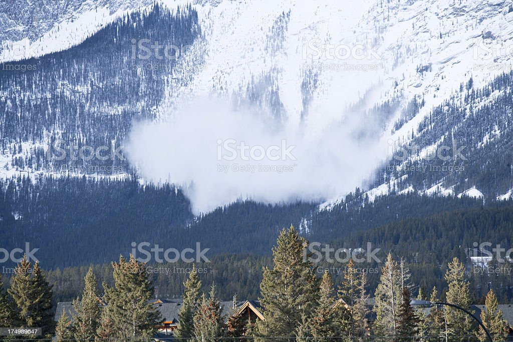 Avalanche in the mountain stock photo
