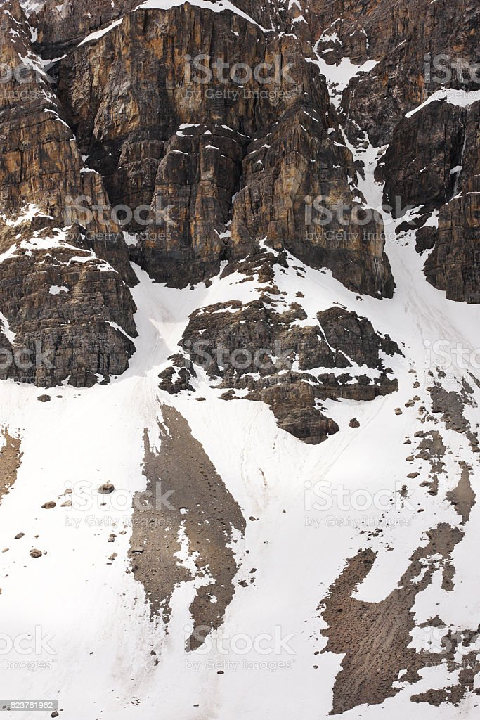 Avalanche Snow Mount Andromeda Columbia Icefield stock photo