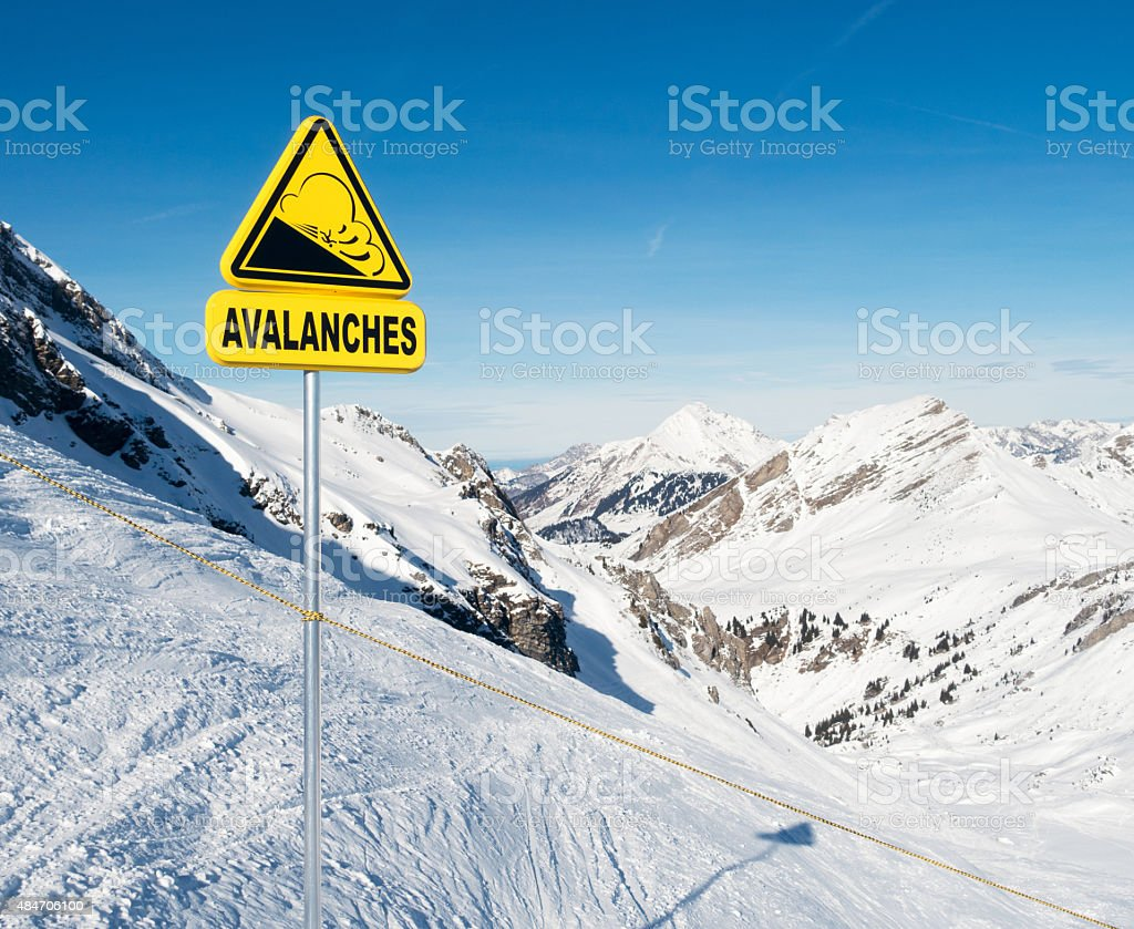 Avalanche warning sign in the European Alps stock photo
