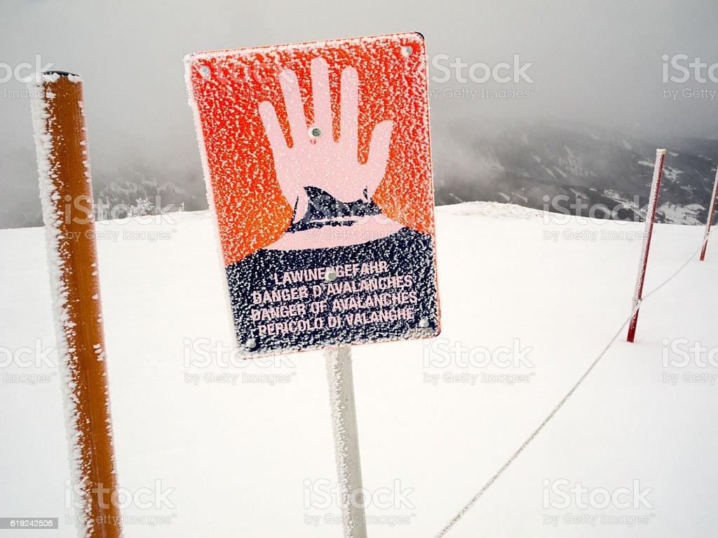 Avalanche warning sign stock photo