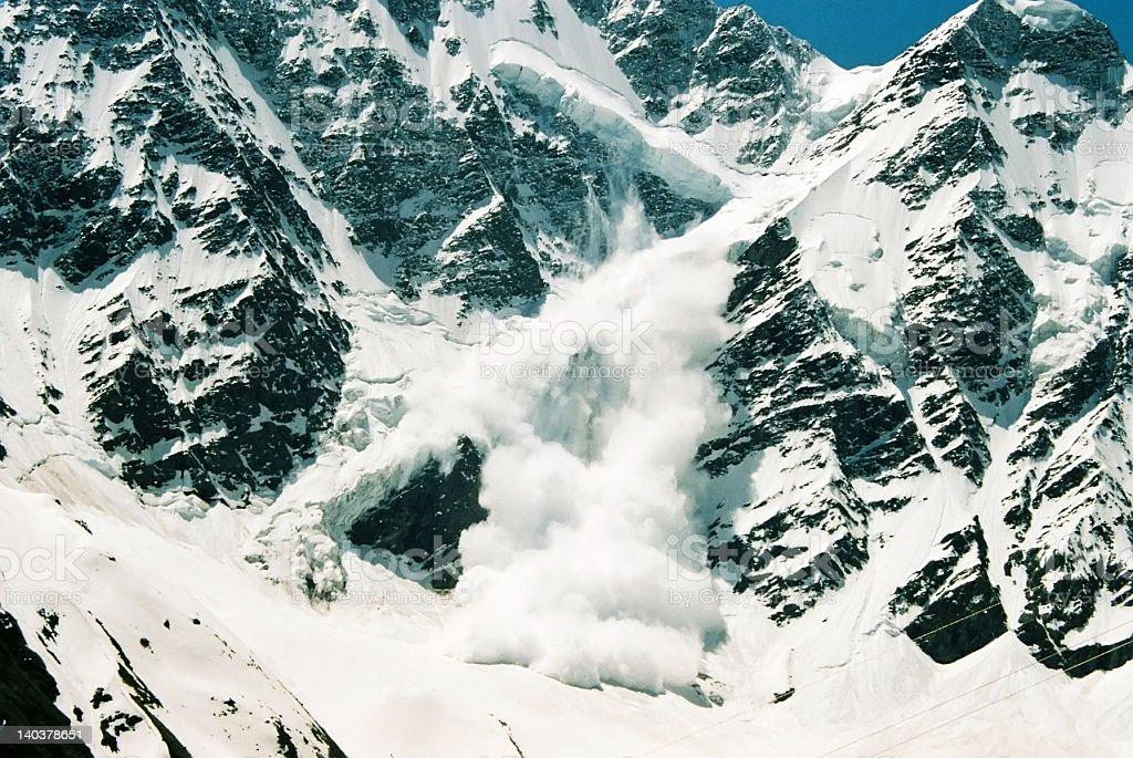 Avalanche.Mountain Donguz-Orun. stock photo