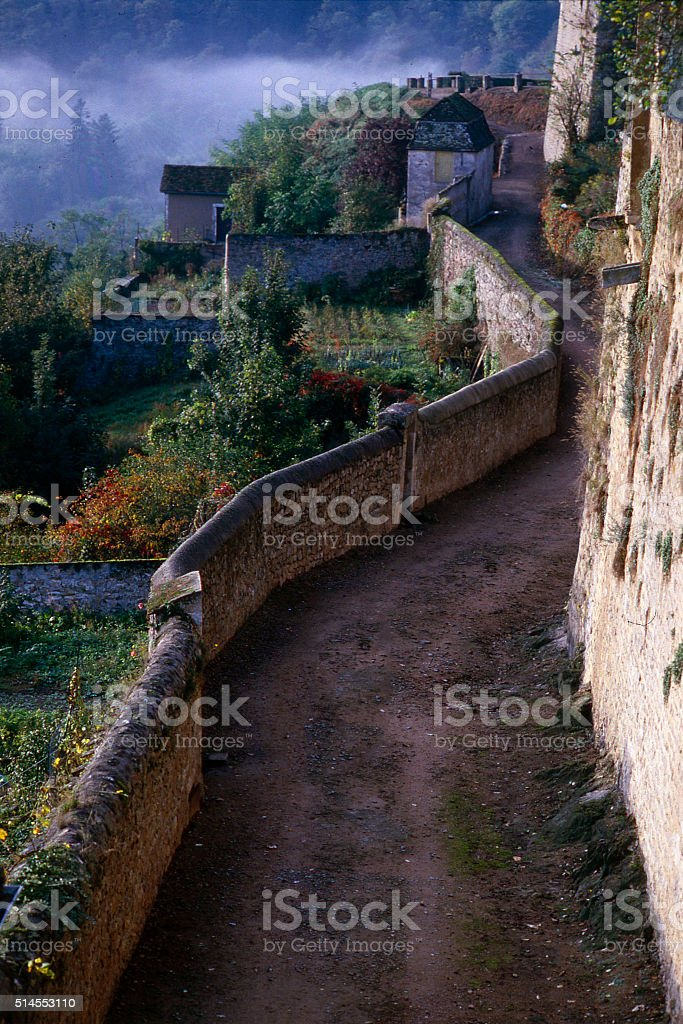 Avallon, France walkway stock photo