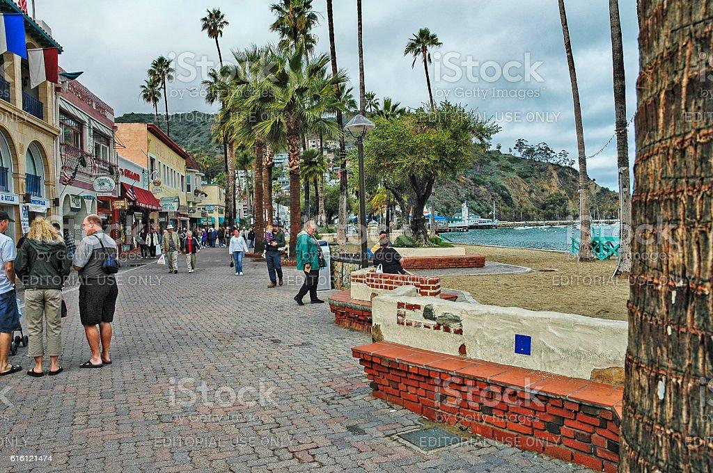 Avalon Beach side shops Santa Catalina Island stock photo