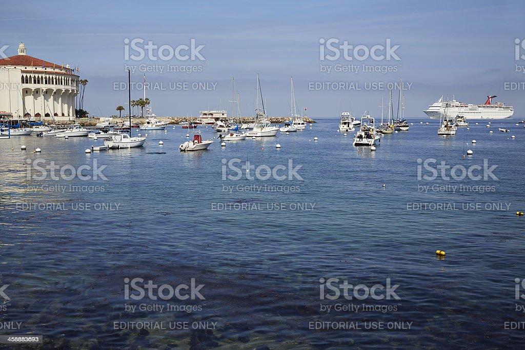 Avalon Harbor and Casino, Carnival Inspiration, Catalina royalty-free stock photo