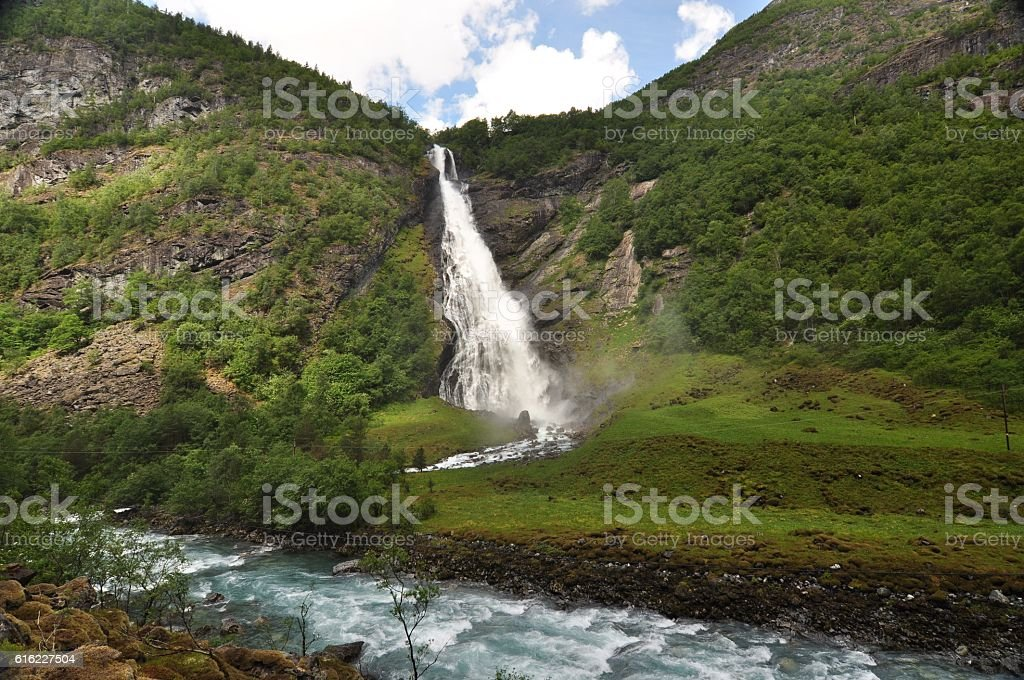 Avdalsfossen, Norway, Jotunheimen  National Park. stock photo