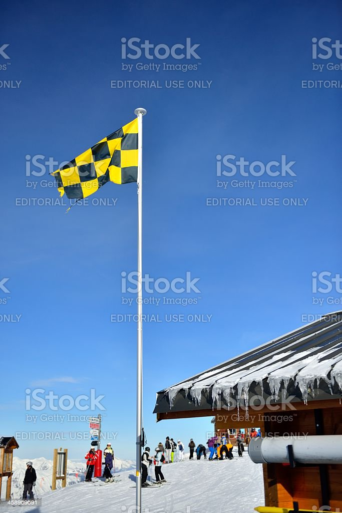 Avelanche warning flag stock photo