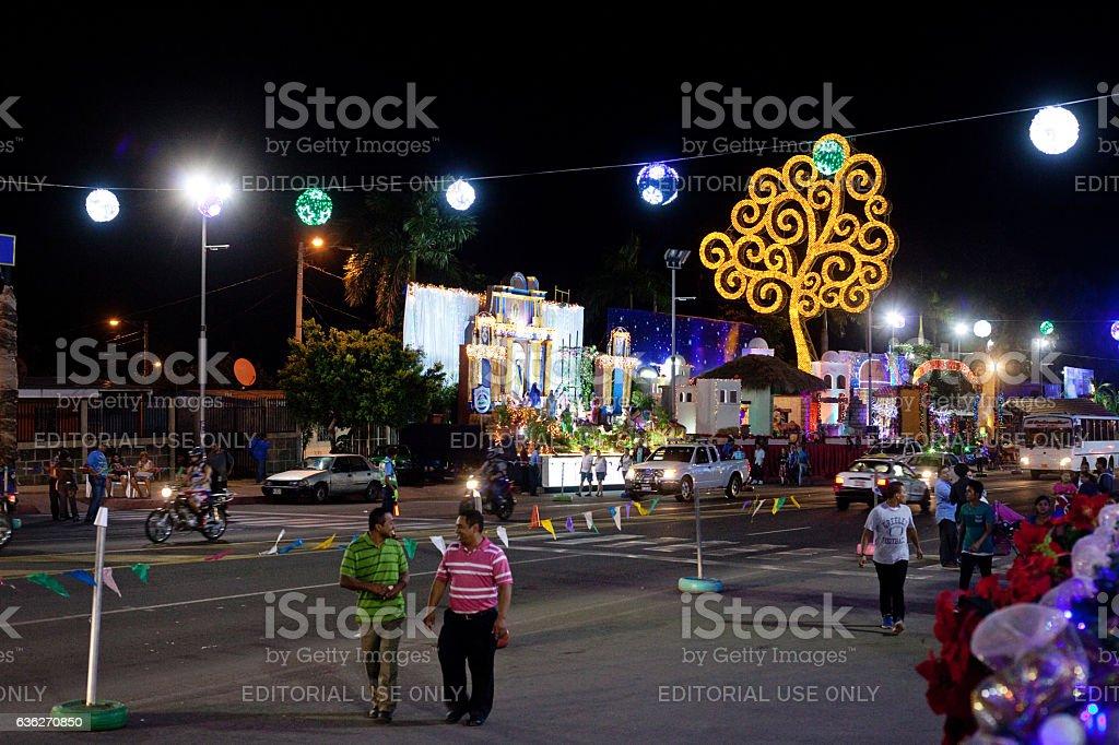 Avenida Bolivar at Christmastime stock photo