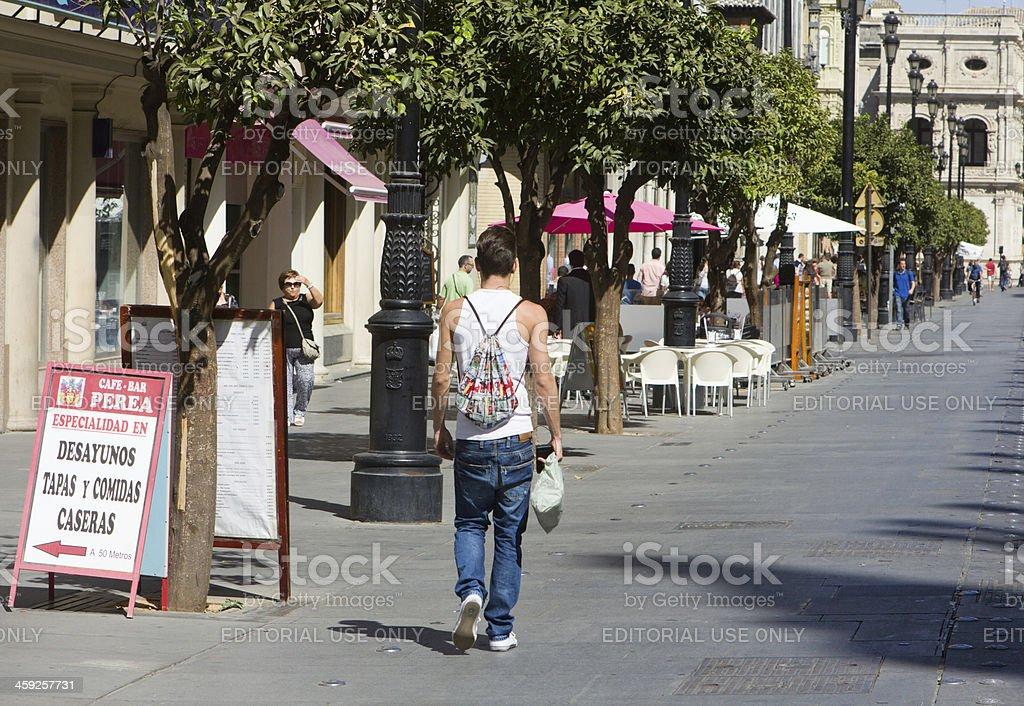 Avenida de la Constitución in Seville, Spain royalty-free stock photo