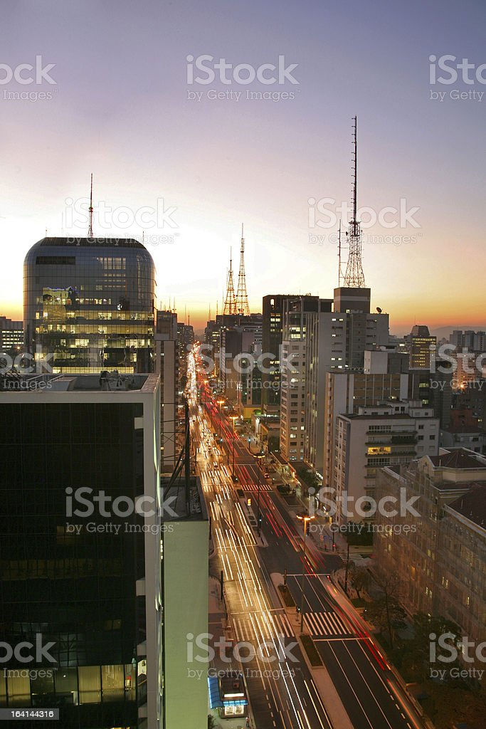 Avenida Paulista p?r do Sol stock photo