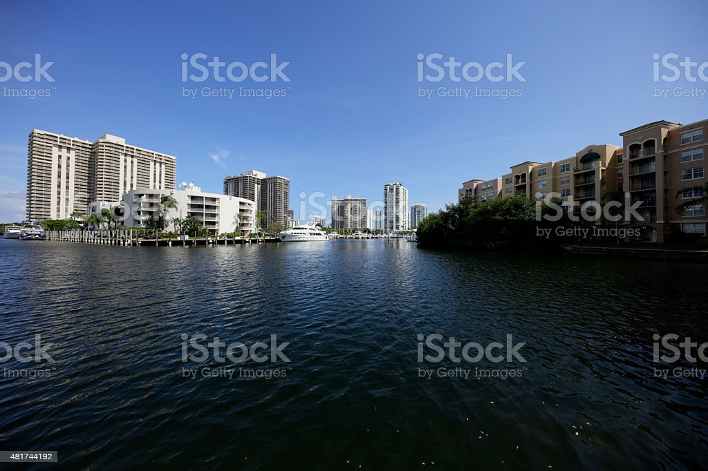Aventura Florida waterfront condos stock photo