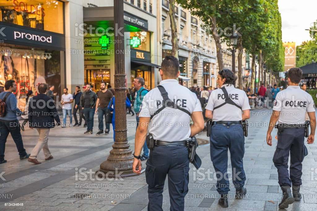 Avenue Champs Elysees security stock photo