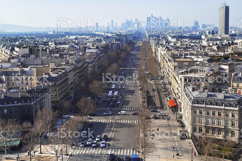 Avenue de la Grande Armee in Paris stock photo