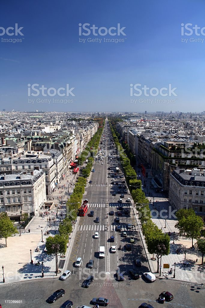 Avenue des Champs Elysees in Paris, France stock photo