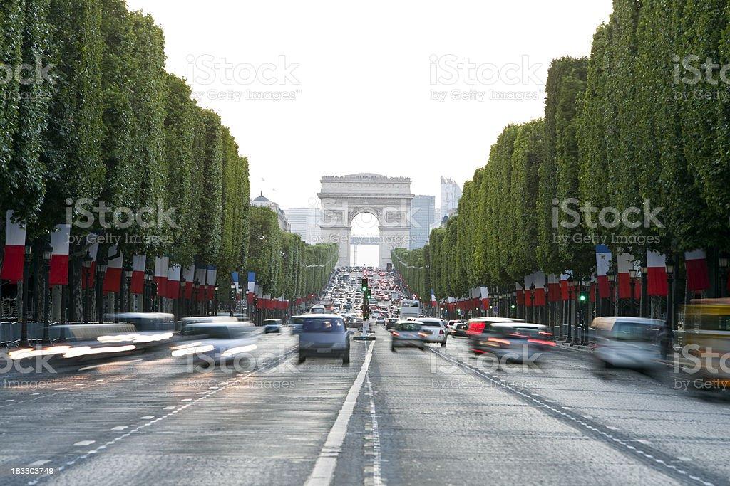 Avenue des Champs-Elysees and Arc de Triomphe, Paris, France royalty-free stock photo