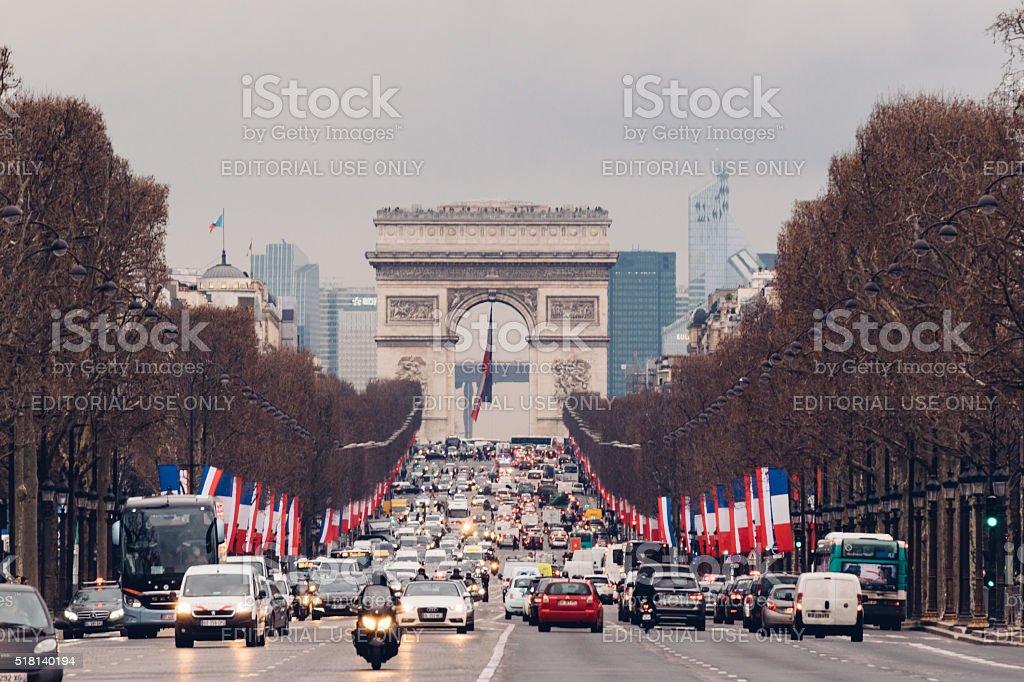 Avenue des Champs-Elysees and Arc de Triomphe, Paris, France stock photo