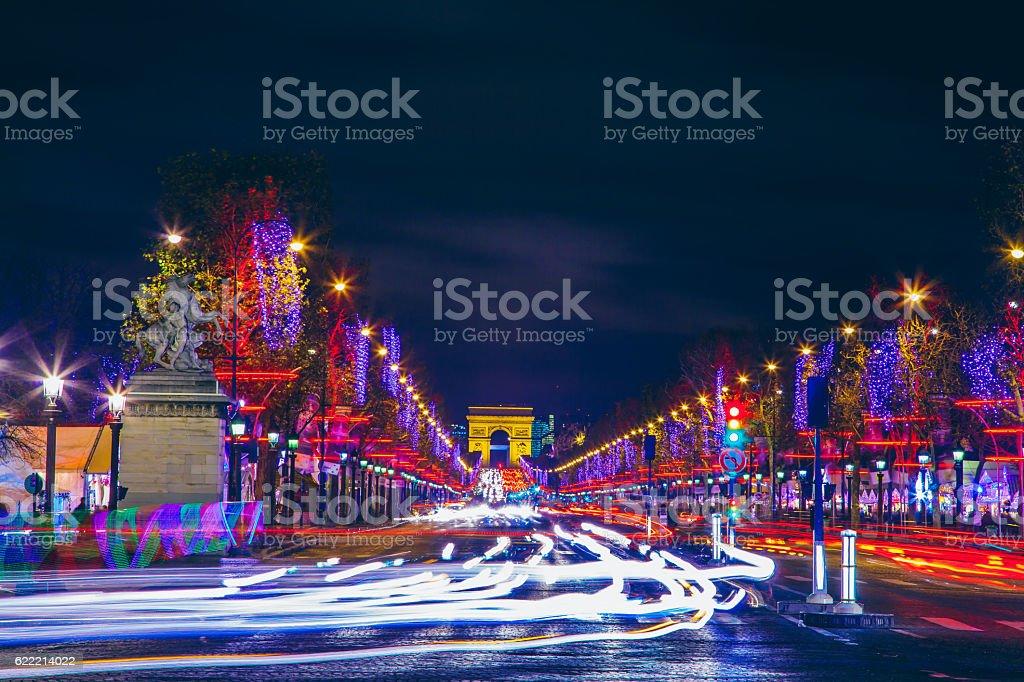Avenue des Champs-Elysees and Arc de Triomphe stock photo