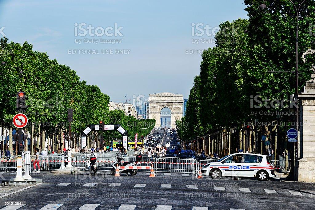 Avenue des Champs-Elysees in Paris stock photo